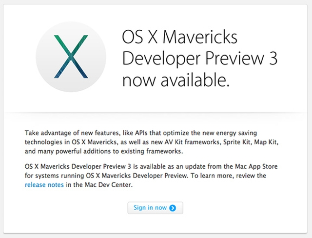 Apple выпустила  OS X Mavericks Developer Preview 3