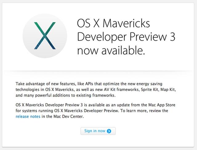 Apple выпустила OS X Mavericks Developer Preview 3