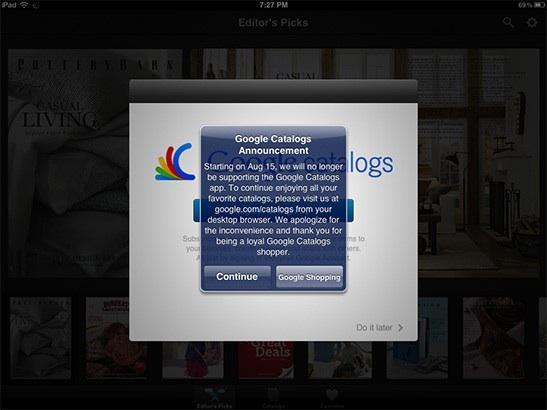 15 августа Google прекращает поддержку Google Каталоги для IOS и Android