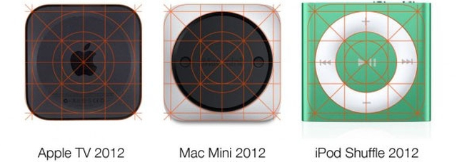 Иконки iOS 7, Apple TV, Mac mini и iPod Shuffle созданы по единому образцу