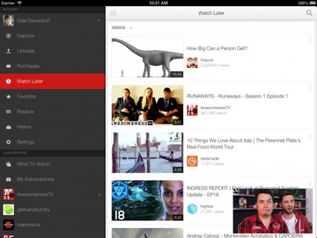 YouTube iOS получило поддержку iPad Pro