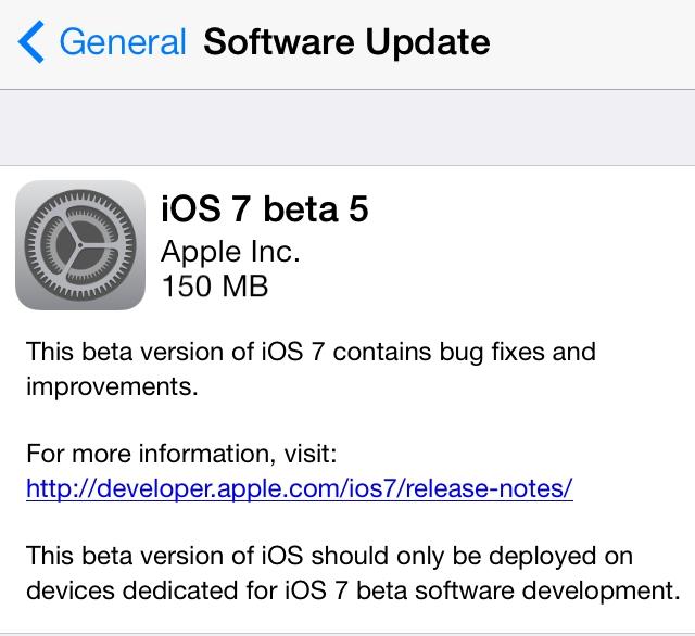 Вышла ios7 beta 5