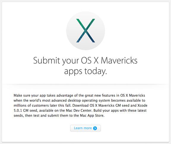 О дате выхода OS X Mavericks Apple сообщит 22 октября
