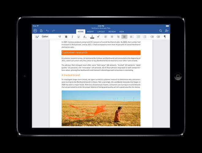 Microsoft office на ipad о