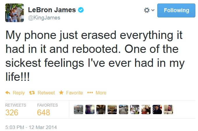 Спонсор Samsung Джеймс Леброн написал в Twitter о критической ошибке своего смартфона