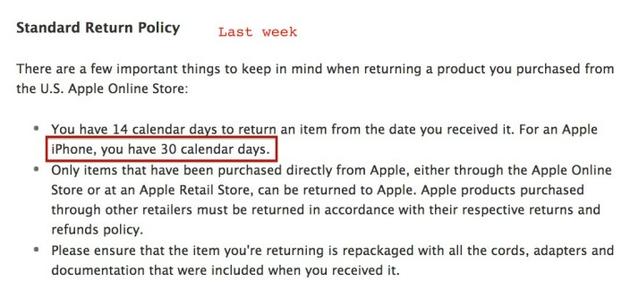 Apple сократила срок возврата iPhone до 14 дней