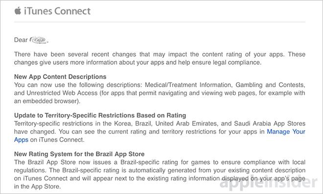 Разработчики получают новые описания контента в приложениях, обновляются системы оценок в iTunes Connect