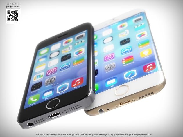 Концепт iPhone 6 с изогнутым стеклом и закругленными краями