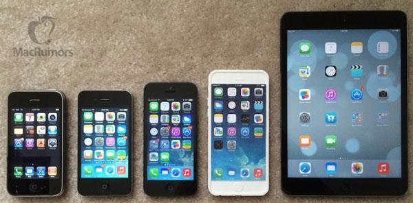 Сравнение макета iPhone 6 с iPhone 3G, iPhone 4, iPhone 5 и iPad mini