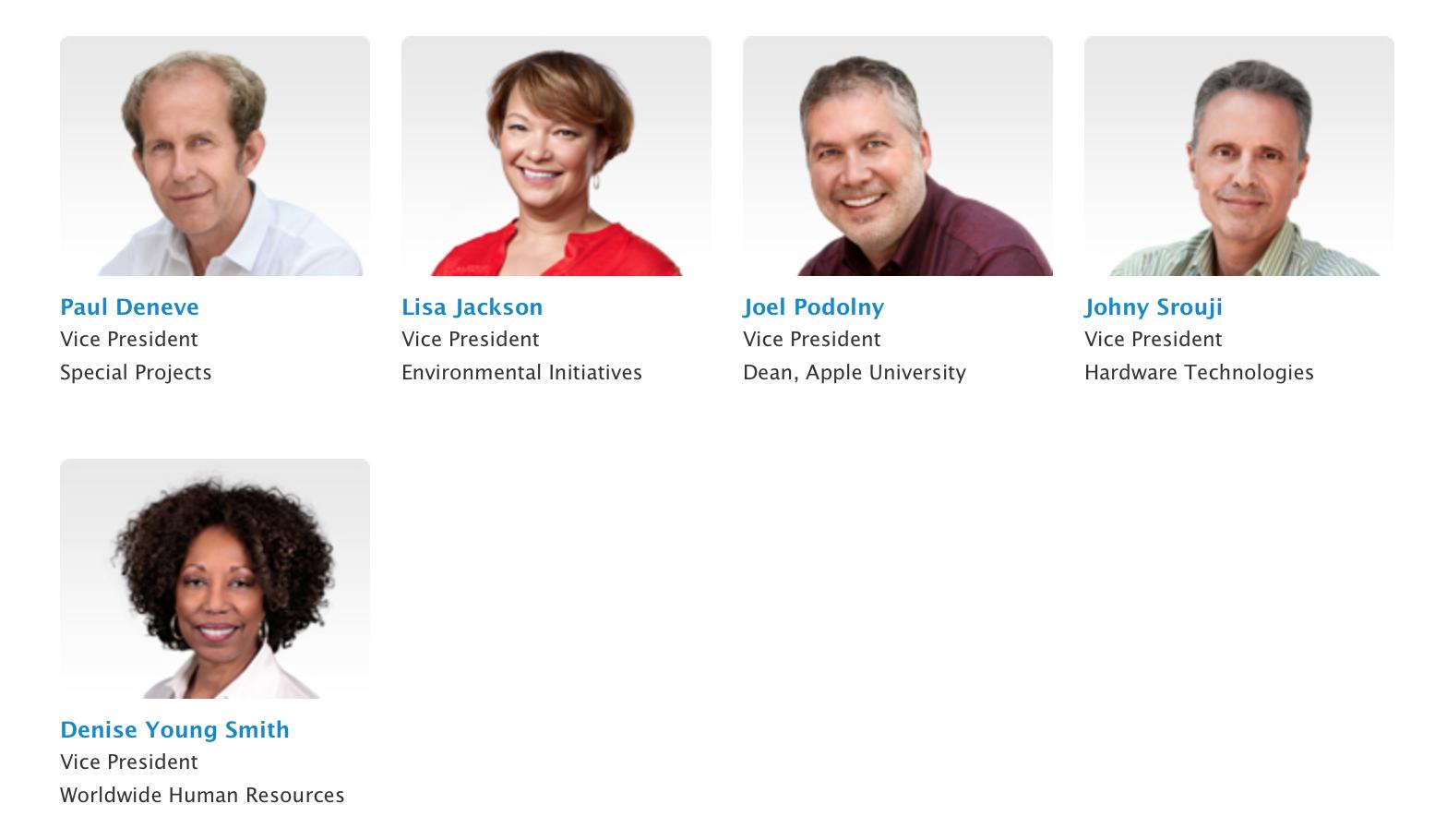 Apple указала информацию о своих вице-президентах