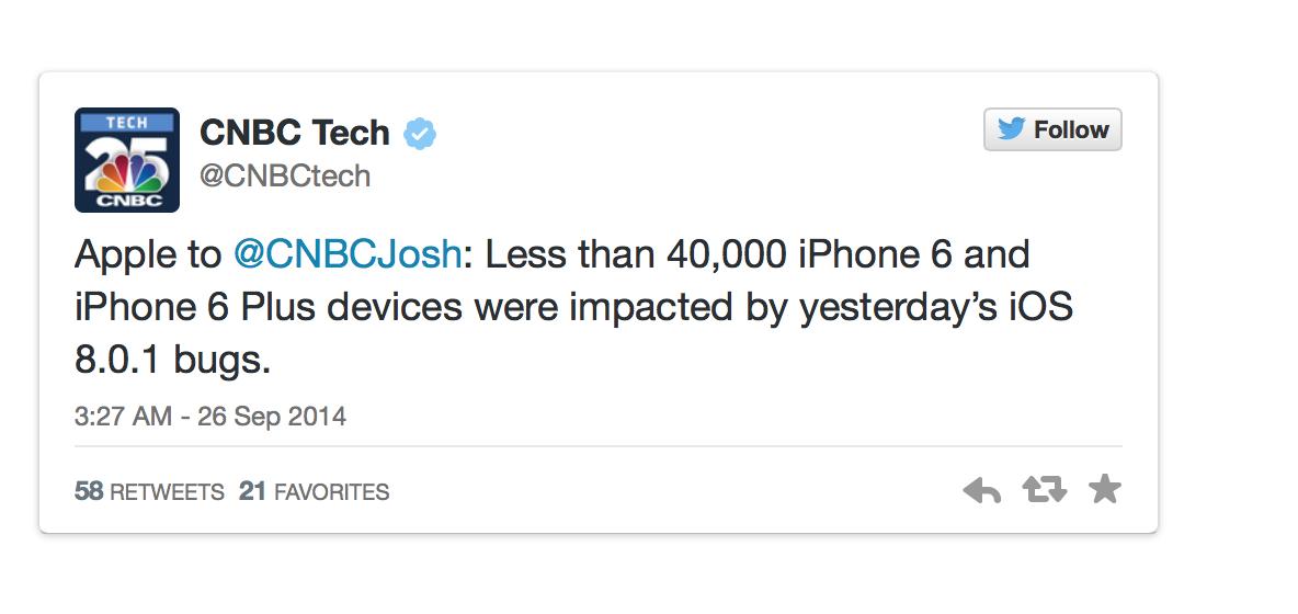 Только 40.000 человек успели поставить себе iOS 8.0.1