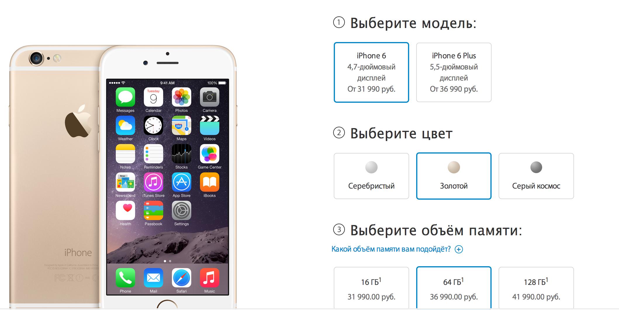 Цены на iPhone 6 в России