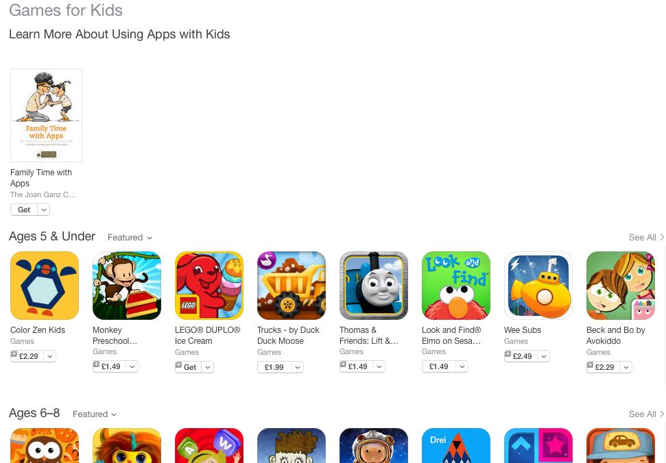 Apple выделила в App Store несколько категорий приложений для детей