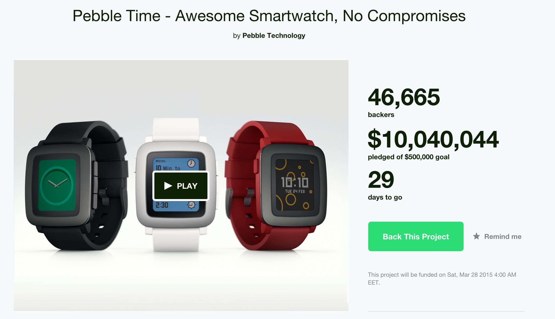 Pebble собрали на Kickstarter $10 млн за два дня
