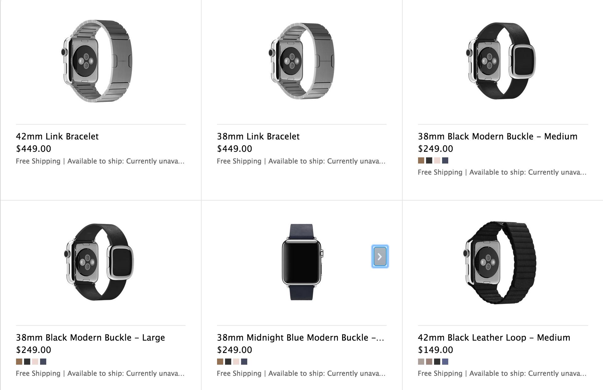 Цены на ремешки для Apple Watch