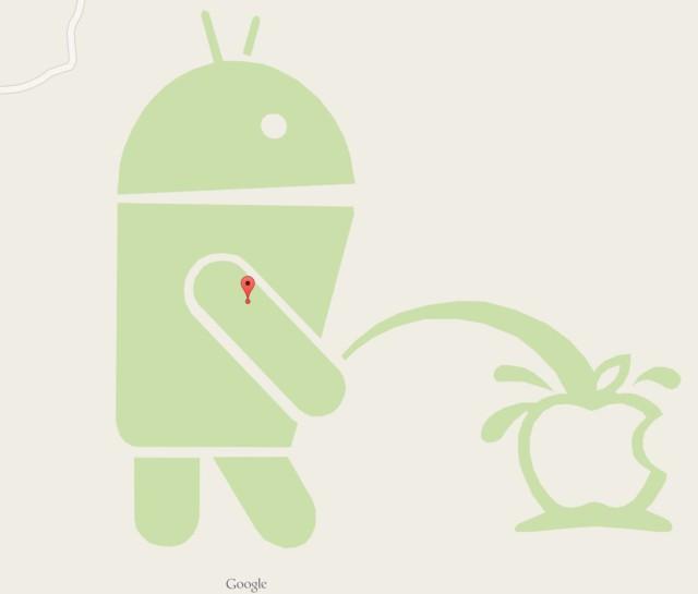 На картах Google на логотип Apple писает огромный Android
