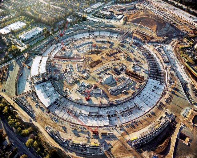 Видео с места строительства нового кампуса Apple