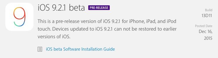 Apple выпустила первую бета версию iOS 9.2.1 для разработчиков