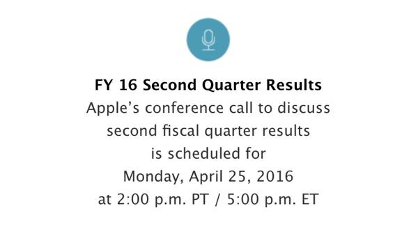 25 апреля Apple отчитается о доходах за II квартал 2016 года