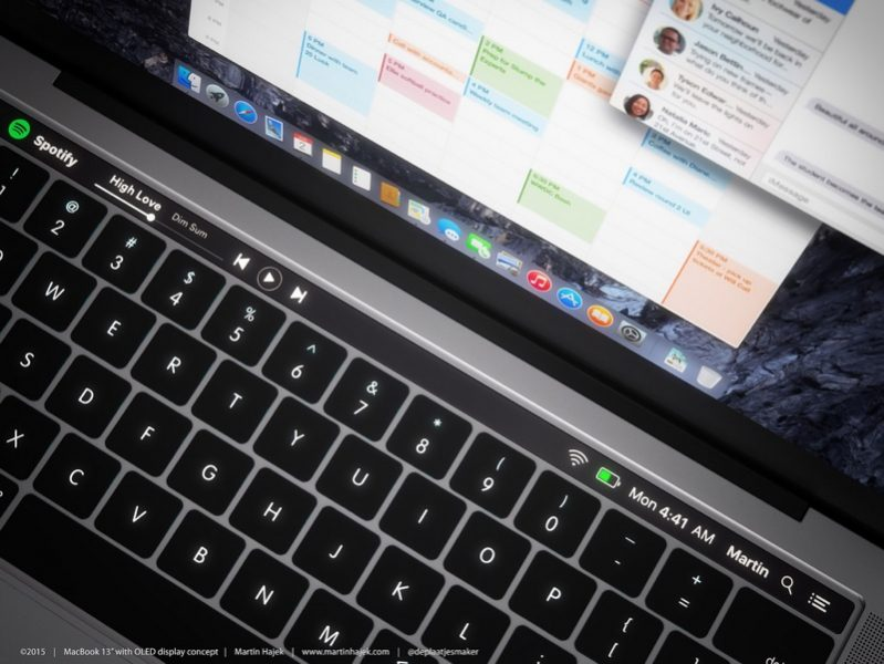 OLED-дисплей над клавиатурой в MacBook