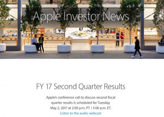 Apple отчитается по финансам 2 мая 2017 года
