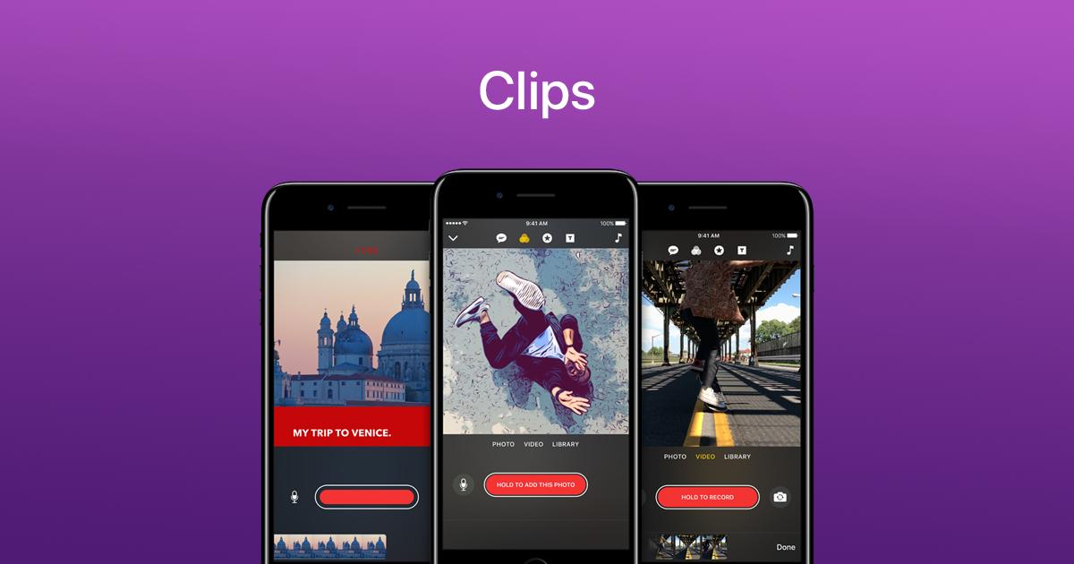 Приложение от Apple 'Clips' скачали 1 млн. раз за 4 дня