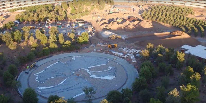 Последние видеоролики c Дрона показывают изменения в ландшафтном дизайне во внутреннем дворе Apple Park