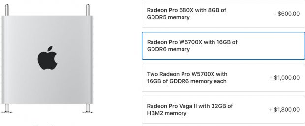 Mac Pro теперь можно заказать с видеокартами Radeon Pro W5700X